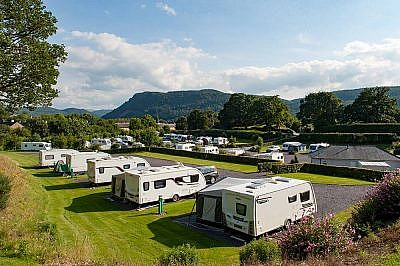 Caravan park and surrounding hills